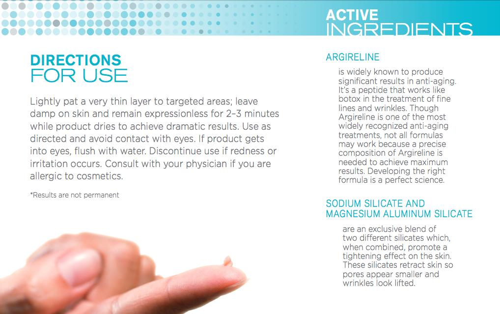 Упаковка крема Instantly Ageless. Инструкция по применению, описание основных ингредиентов Аргирелина, силикатов натрия и магния.