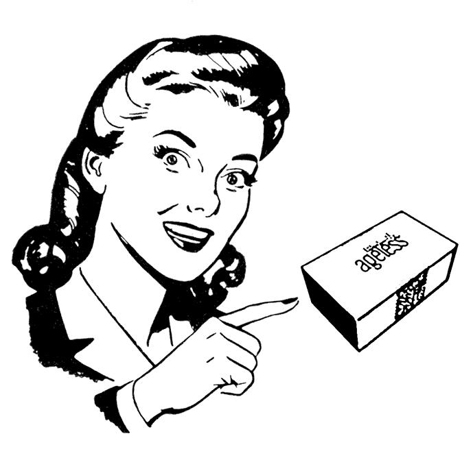 Женщина с кремом Instantly Ageless компании JeunesseGlobal (стилизация под изображение 50-х годов 20 века) -- woman-with-instantly-ageless